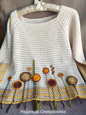 """Фото. Укороченный пуловер """"Сухоцветы"""".  Автор работы - Северюжка"""
