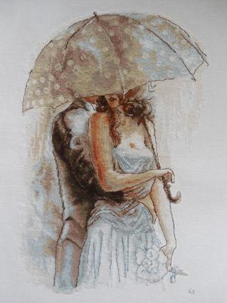 """Фото. Вышитая картина """"Под зонтом"""". Автор работы - Смерфетка"""