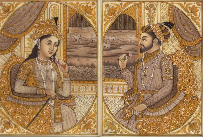 Фото. Мумтаз-Махал и Шах-Джахан, индийская миниатюра эпохи Великих Моголов, XVII в