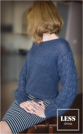 Фото. Джемпер.  Мохер на шелке+стоковый меринос одинакового цвета.  Автор работы - less