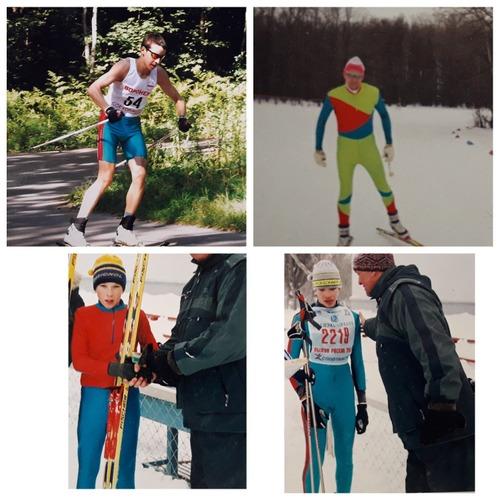 Фото. Муж и дети занимались лыжным спортом. Приходилось их одевать в комбинезоны и разминочные костюмы.