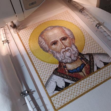 Фото. Св. Николай Чудотворец, машинная вышивка. Автор работы - pautinka1