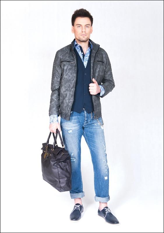 Комплект №2 . Куртка – New Yorker. Синий жилет – Benetton. Сорочка – Enrico Cerini. Голубые джинсы – Benetton. Туфли – Enrico Cerini. Сумка – Sisley. Цепочка – New Yorker