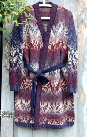 Фото. Жаккардовый карди с запахом из шерстяной пряжи.   Автор работы - galgena