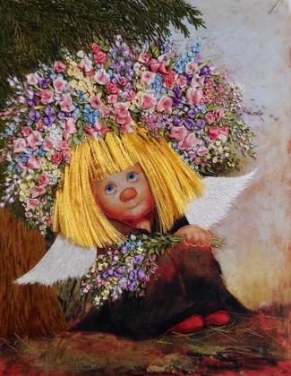 """Фото. """"Ангел"""" по картине Чувиляевой, вышивка лентами.  Автор работы - Танаис"""