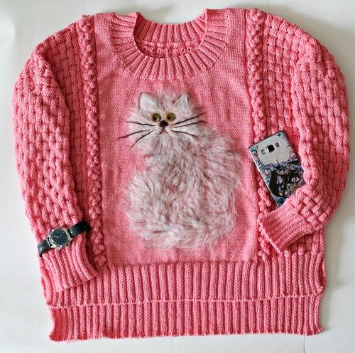 Фото. Розовый пуловер - оверсайз с кошечкой. Автор работы - MorskayaMarina