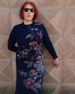 Фото. Платье тунисским вязанием. Вышивка гобеленовым стежком. Автор работы - lara_chka