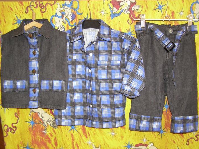 """Фото. Джинсовый костюм для мальчика """"Синяя клетка"""" - джинса + фланель. Автор работы - СерьезнаяЮ"""