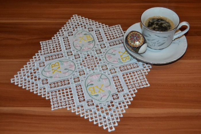 Фото. Вышитая  пасхальная салфетка.  Автор работы - Gala Lipetsk