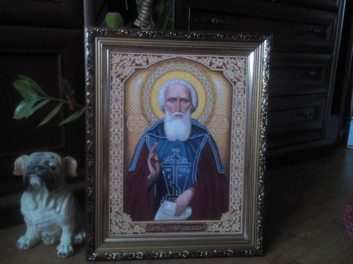 Фото. Вышитая икона для сына - Сергий Радонежский.  Автор работы - ,Бусинка