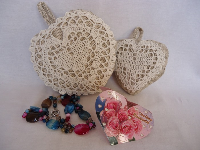 Фото. Сердечки-валентинки-маленькие подушечки. Лен на льне.  Автор работы - Olga_Bubenkova
