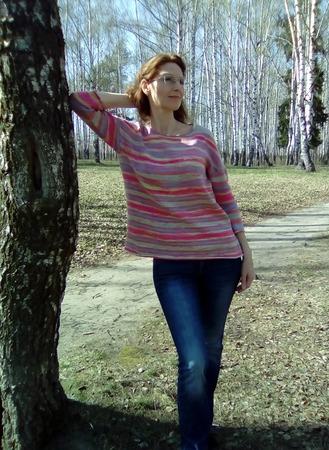 Фото. Джемперок полосатый из хлопка Ализе бахар батик цвет № 2593. Автор работы - Юлия2014