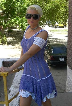 Фото. Платье-сарафан на лето пряжа хлопок сток сиреневого цвета. Автор работы - ckripkina