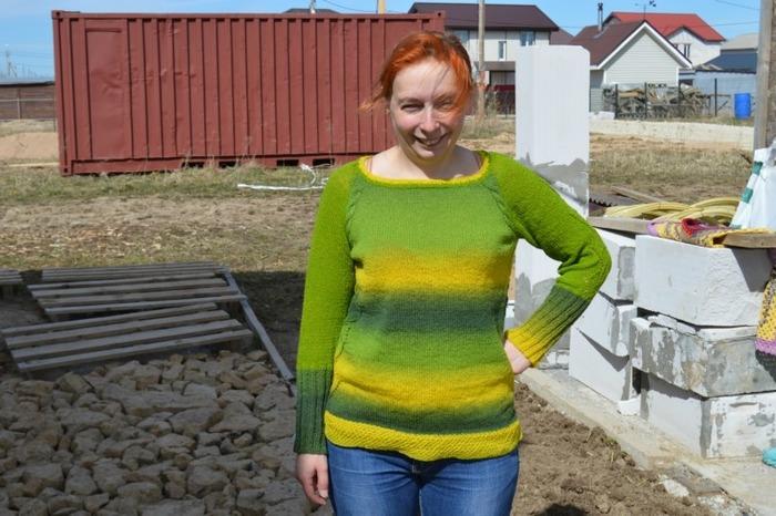 Фото. Джемпер из кауни: зеленой и зелено-желтой. . Автор работы - oclok