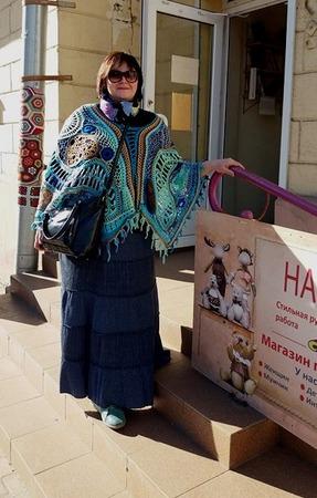 Фото. Очаровательная шаль в технике фриформ. Автор работы - Димарина