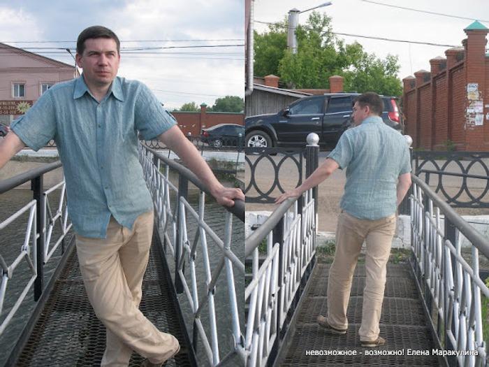 Фото. Для любимого мужа - рубашка. Ткань - припыленно-зеленый батист крэш. Автор - Елена весенняя