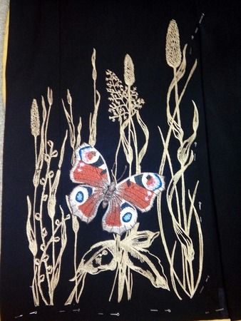 Фото. Машинная вышивка - уголок с бабочкой. Автор работы - Алла23