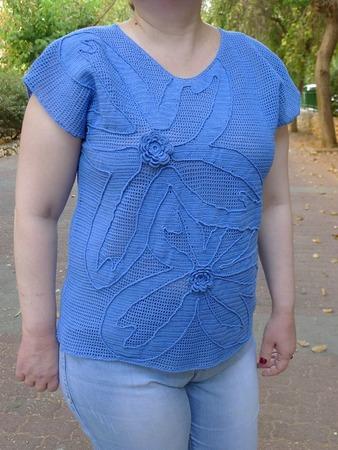 """Фото. Топ в технике филейного вязания - """"Голубой лотос"""". Автор работы - Anlisa"""