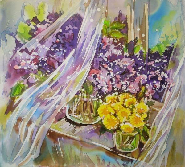 """Фото. Горячий батик """"Майские цветы"""". Крепдешин, акрил. Автор работы - Волжанка12"""