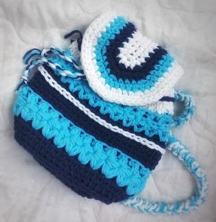 """Фото. По мотивам морского прибоя -  объемный трехцветный рюкзак """" Дары моря"""". Размер 32*33.. Вязка довольно плотная, рюкзак хорошо держит форму, а при этом легкий. Автор работы - Bug_bag"""