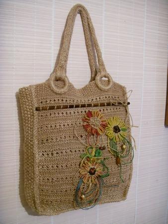 """Фото. Джутовая сумка """"Добромила"""" украшена вышивкой.  Автор работы - Jichareva"""