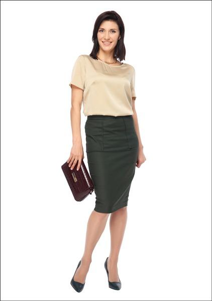 Комплект №4А . Блуза – BGN. Юбка – Casa d'Arte Masha Moreva. Полупальто и ожерелье – Mango. Туфли и сумка – «Эконика»