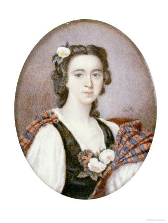 Фото. Flora Macdonald (1722-1790), in Black and White Dress with Bouquet of Roses and Tartan Plaid.