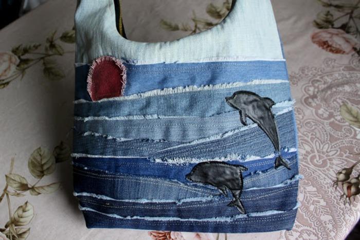 Фото. Сумки из старых джинсов - классика летней моды. Сумочка Морская.  Автор работы - -niagara-