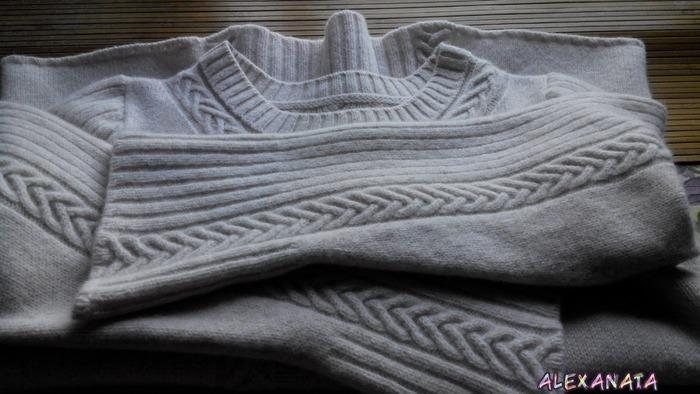 """Фото. Свитер """"Бело-розовый зефир"""". 2-фонтурное машинное вязание.   Автор работы - alexanata"""