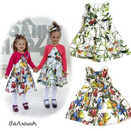 Фото. Нарядные платья для дочек из твилла.  Автор работы - Валентинка1