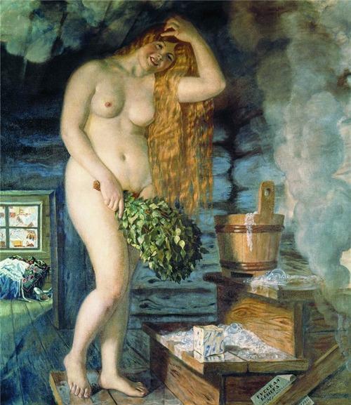 """Фото. Борис Кустодиев """"Русская Венера"""" 1921 г. Обратите внимание на мыло, изображенное на картине."""
