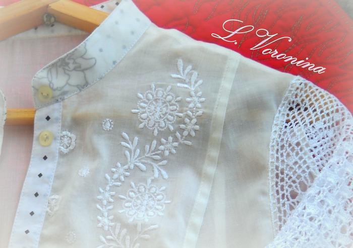 Фото. Блуза из батиста и вязаных крючком рукавов. Автор работы - Карманьола