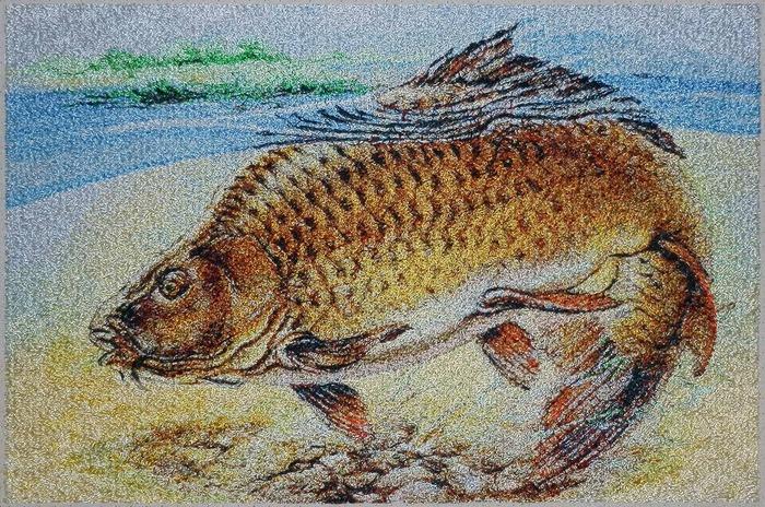 """Фото. Машинная вышивка """"Рыбный день"""".  Автор работы - Skarapey"""