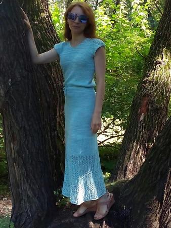 Фото. Платье из льна с бамбуком.  Смесь акрила, полиэстера, мохера и паеток.   Автор работы - Topekha