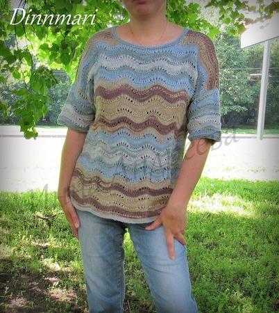 Фото. Пуловер волнистым узором. Автор работы - Инчик2007