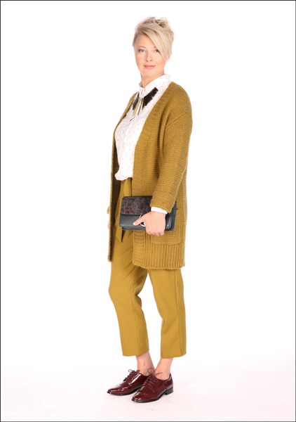 Комплект №2 . Кардиган, блуза, брюки, туфли и колье – Promod. Клатч – Mango