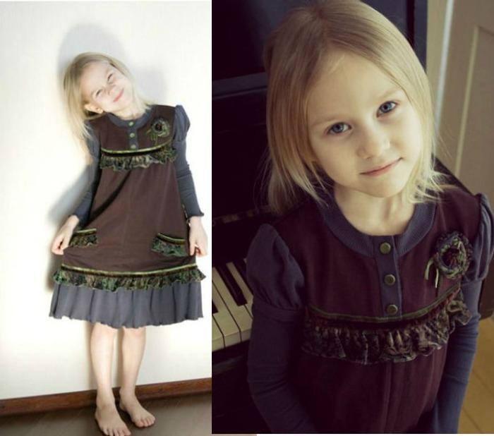 Фото. Платье для внучки их старых футболок и остатков ткани для отделки. Автор работы - Kornatka