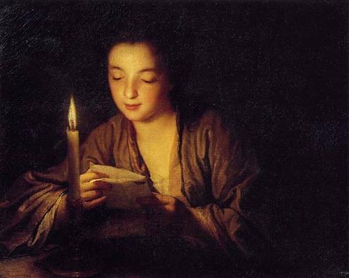 Фото. Жан Батист Сантерр Девушка со свечей 1700 г.