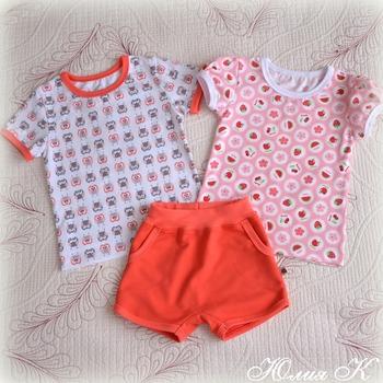 Фото. Комплект для девочки - футболки и шортики.  Автор работы - я Валерьевна