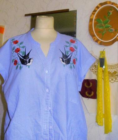 Фото. Вышивка на готовой рубашке.. Автор работы - tanu 57