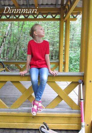Фото. Красный пуловер с круглой кокеткой и кармашкамиl. Автор работы - Инчик2007