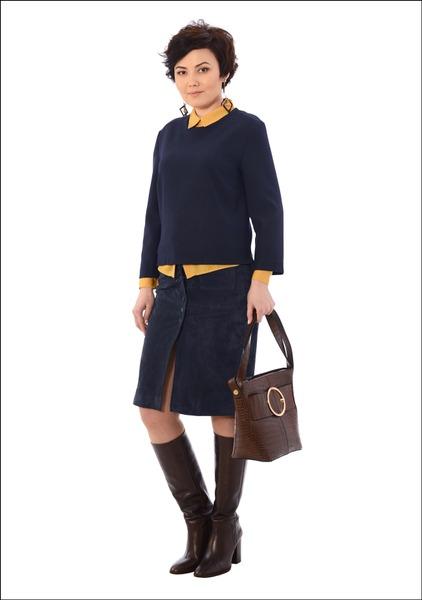 Комплект №3 . Топ, блуза, юбка, сапоги, сумка и серьги – Mango