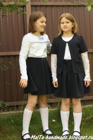 Фото. Классика для девочки - юбка и блузка. Которые можно дополнить жилеткой. Автор работы - MalTa