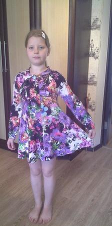 Фото. Выкройка блузки из OTTOBRE стала платьем.  Автор работы - Jenia_devochka