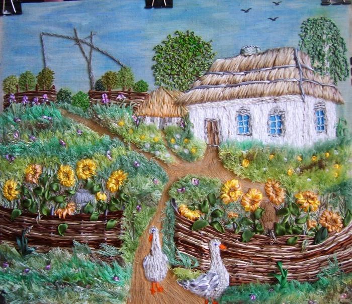 Фото. В далекой деревне есть домик чудесный... Вышивка в смешанной технике.  Автор работы - babuliahak