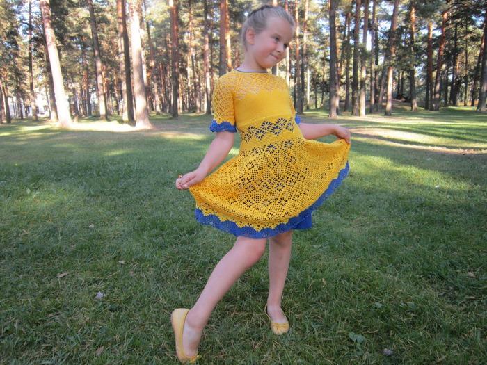 Фото. Летнее платье. Пряжа Мисс от Ализе, 100% хлопок, крючок 1,75 мм. Автор работы - Я_Таня