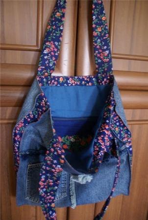 Фото. Сумка из остатков джинсы и хлопка. Автор работы - Lea4