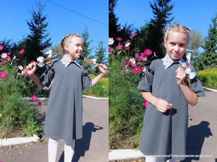 Фото. Школьное платье для дочки на первое сентября. Автор работы - Елена весенняя