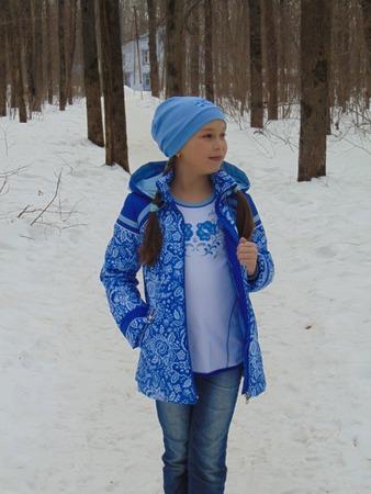 """Фото. Из плащёвки """"Гжель"""" с Осинки сшилась  и демисезонная курточка для дочки."""