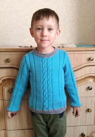 Фото. Пуловер из Milk Cotton Color City. Расход 150гр. Спицы 2,5 и 2,75.